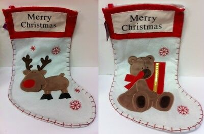 Cute plush effect 40cm children's teddy and reindeer Christmas stockings