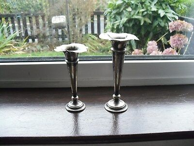 2 x Antique / Vintage Silver Plated Bud Vases, Size 16.5 x 8.3 & 14.4 x 7cm