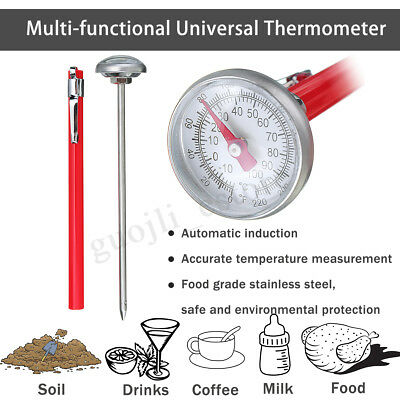 Soil/Drinks/Food Universal Thermometer Premium Stainless Steel Probe Detector