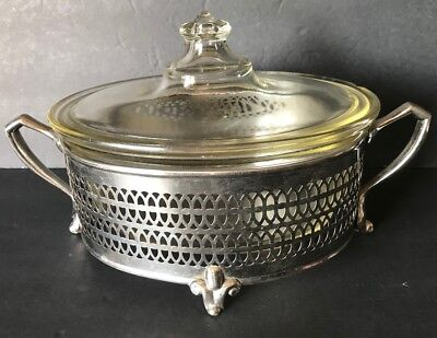 Pyrex Vintage Oval Clear Cassarole Dish With Lid And Silver Plate Holder