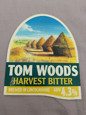 beer pump clip badge - Tom Woods Brewery Harvest Bitter Ale