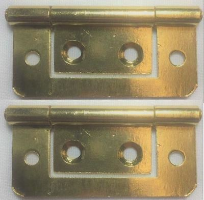 8 4 Pairs X 75mm Electro Brassed Flush Hinge For Cabinet Cupboards