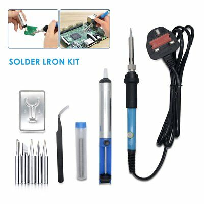 Solder 10PC Set Soldering Iron Kit 60w 220 Volt Best for Small Electric Tool UK