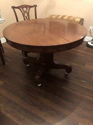 "45"" Round Antique Oak Pedestal Dining Table"
