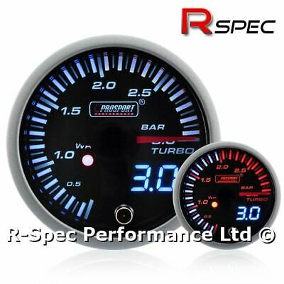 Prosport 52mm JDM Dual Display Turbo Diesel TDI Boost Gauge 3 Bar - Tdi Diesel