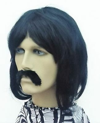 Men's Bob Style Black Fancy Dress Wig & Black Droop Moustache,   Self Adh.