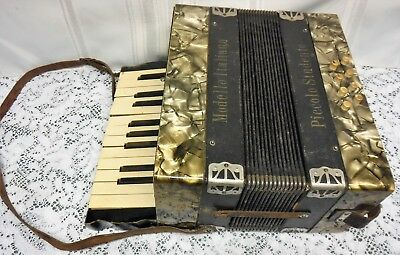 Vtg Antique Modello Italiano Piccolo Studente Student Accordion Germany
