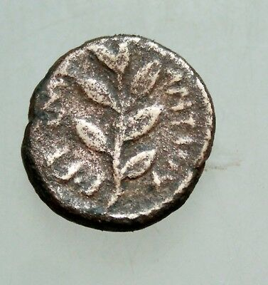 Gtrek bronze coin Head of Apollo AE 16mm /   olive twig in front.