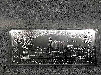 USA $20 September 11th .999 Pure Silver Leaf Coin Certificate National Mint