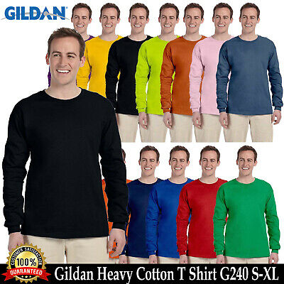 Gildan Heavy Cotton Long Sleeves Mens Blank T-Shirt S-XL Plain T Shirt Tee G240