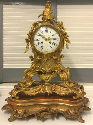 Antique XL 1860's French Japy Freres Gilt Bronze Centre Piece Table Clock &Bases
