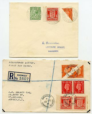 Guernsey 18th Feb 1941 two covers with bisects + occupation 1d first day issue