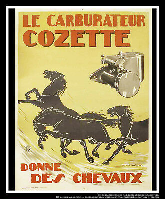 COZETTE CARBURATOR BY COUSYN 4x6 ft Vintage Advertise Poster Original 1920's