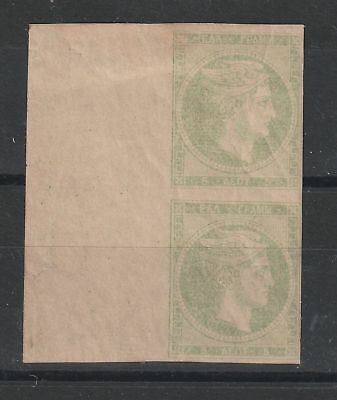Greece 1881 Marginal pair  in pae yellow green vf MINT