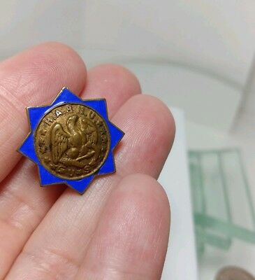 Civil War NAVY ENAMEL BRASS LAPEL BUTTON R.A. & N.U. US Eagle Anchor