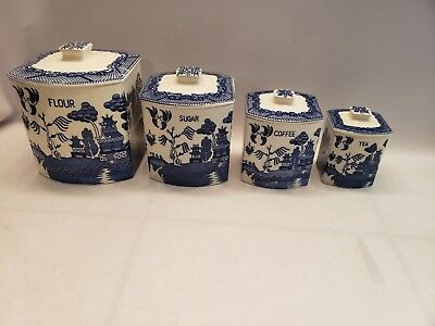 Vintage Blue Willow 4-piece Canister Set with Lids Japan - NICE!