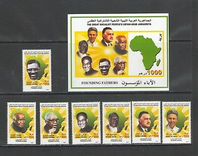 LIBYA:#  Sc.1696-1703/**FAMOUS AFRICAN LEADERS**/ Set of 7, Sheet of 7 & SS /MNH