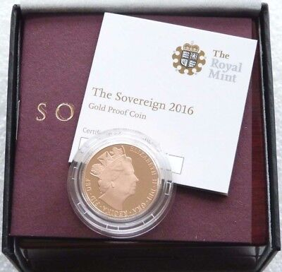 2016 Gold Proof Sovereign Royal Mint New Box and Certificate