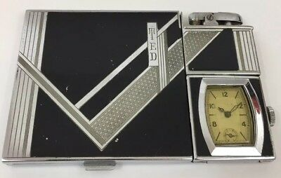 Ronson Queenpact With Watch Lighter - Cigarette Case & Lighter Combination