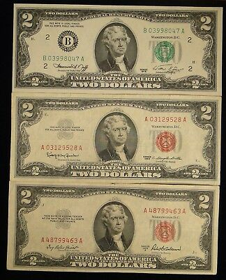Series Of 1953, 1963 & 1976 $2.00 Federal Reserve 3 Note Paper Money Collection