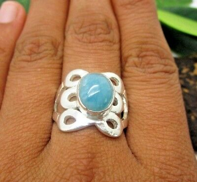 Authentic Natural Blue Larimar 925 Sterling Silver Ring Size 8 Oval Gemstone P21