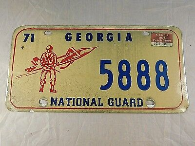 Vintage 1971 Georgia National Guard License Plate 5888
