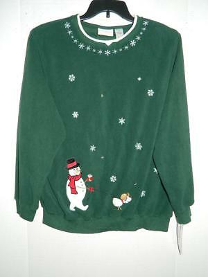 Old Navy Womens Christmas Sweater Snowman Size Medium Green Ugly Fun