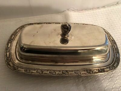 Vintage Silver Oneida Covered Butter Dish w/Glass Liner