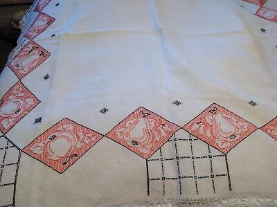 """Vintage Deco Style 1930's 1940's Linen Hand Embroidered Tablecloth 54""""x54"""""""