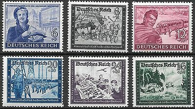 Germany Third Reich Mi# 888-893 MNH Postal Employees & Hitler's Cuture Fund**