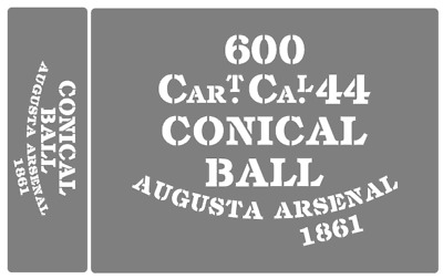 Conical Ball ammunition box stencils American Civil war (A)