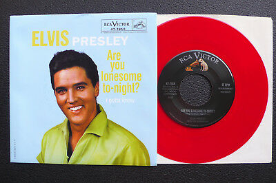 """7"""" Elvis Presley - Are You Lonesome Tonight - USA RCA red Vinyl"""