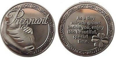 Pregnancy Lucky Coin Pewter  Charm Token Inspirational Words Capsulated