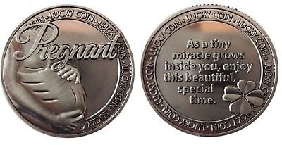 Pregnant Pregnancy Pocket Token Lucky Coin Pewter Inspirational Words Capsulated