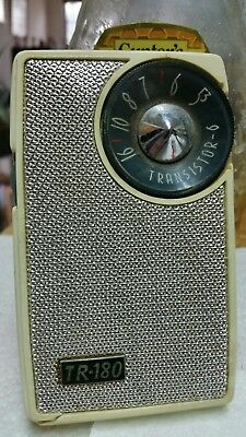 Vintage Atomic ROXY/AFCO TR-180 Two-Tone Transistor Radio+Case~Japan-WORKS FREES