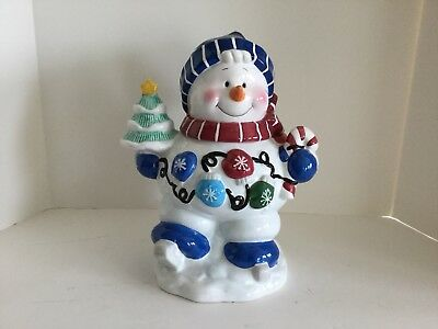 Snowman Cookie Jar Christmas Holiday Houston Harvest Gift Co. Excellent Cond.