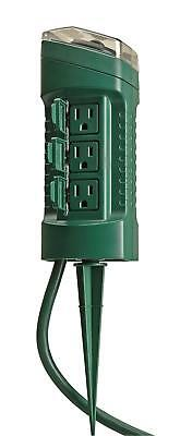 13547WD Outdoor Yard Stake with Photocell and Built-In Timer,6Grounded Outlets