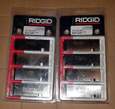 "2 packs New Ridgid 47745 RH Pipe Dies 1/2""-3/4"" NPT Universal Alloy Steel"