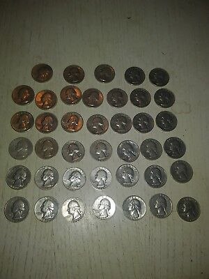 Roll (40)  90% Silver Washington Quarters Coins, mixed dates