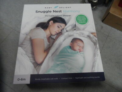 Baby Delight Snuggle Nest Harmony Portable Infant Sleeper Baby Bed Silver NEW
