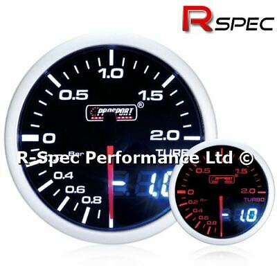 Prosport 52mm Dual Display Amber / White Stepper Motor Turbo Boost Gauge - BAR