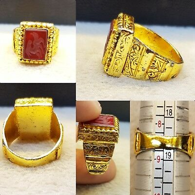 Medieval Vintage Gold Gulied Ring With Stunning Agate Stone Deer Intaglio  # y7