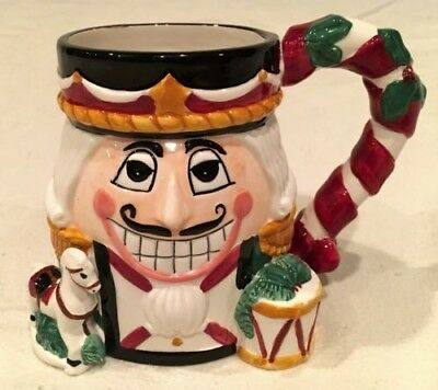 Tis The Season Nutcracker Mug Rocking Horse Drum  Extra Large 3D 16 Ounce