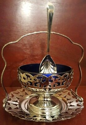 Vintage Set Silver Tone Metal & Glass Cobalt Blue Sugar Bowl, Tray And Spoon