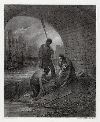 "Emotional Gustave DORE 1800s Engraving ""The Bridge of Sighs"" SIGNED Framed COA"