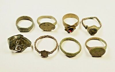 Mixed Lot Of 8 Roman / Post Medieval Rings - Great Artifacts