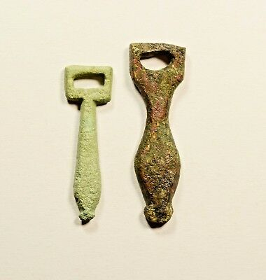 Ancient Roman Military Bronze Phallic Pendant - Wearable Artifact - Lot Of 2