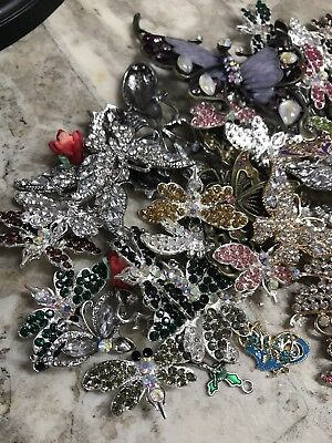 HUGE Lot Of Vintage To Now Rhinestone Butterflies & Dragonflies Pins Charms