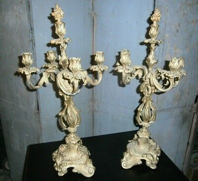 Paire Bougeoirs Chandelier Candelabre Candlestick Bronze Dore  Style 18 Eme