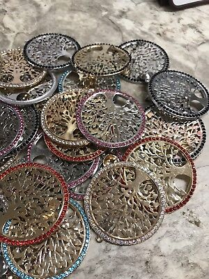 HUGE Lot Of Vintage To Now Rhinestone Tree Of Life Necklace Pendants Charms